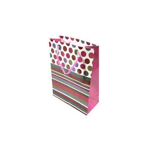 Mini ajándéktasak, pöttyös-csíkos, rózsaszín