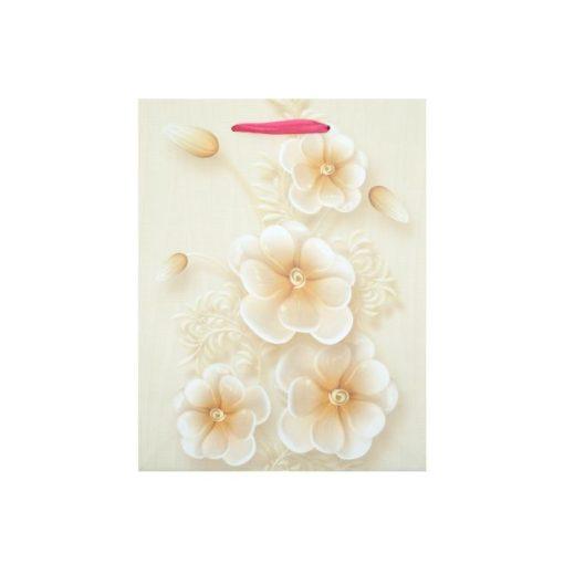 Kicsi ajándéktasak, virágos, bézs