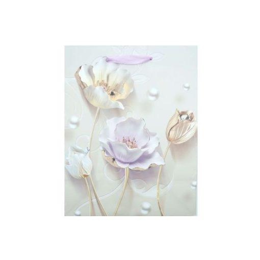Kicsi ajándéktasak, virágos, lila-bézs