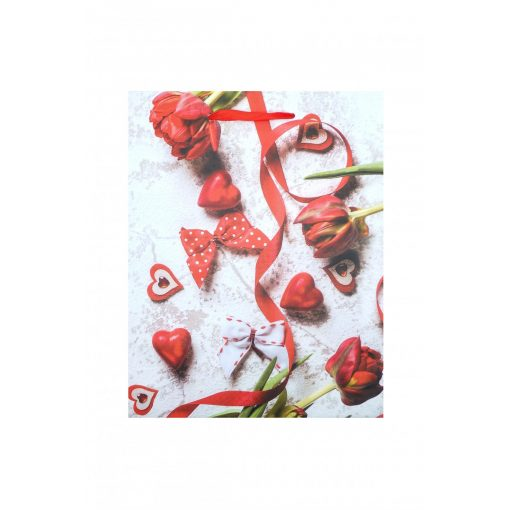 Közepes ajándéktasak, szíves, piros