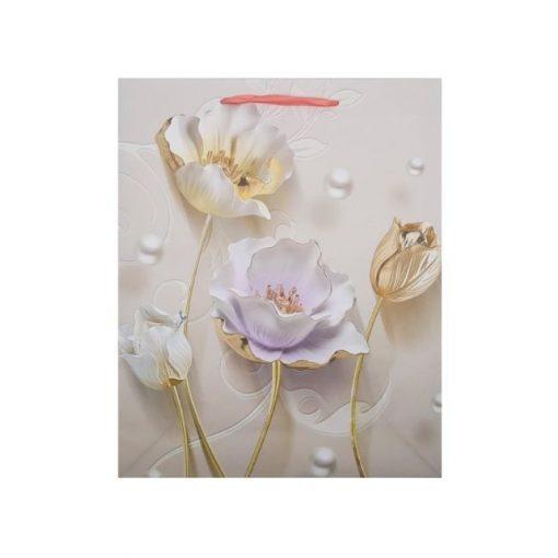 Közepes ajándéktasak, virágos, lila-bézs