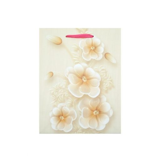 Közepes ajándéktasak, virágos, bézs