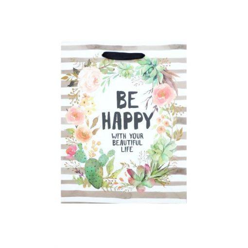 """Közepes ajándéktasak, """"Be Happy"""""""