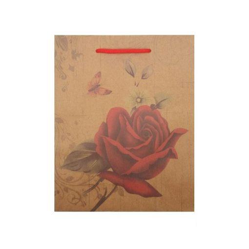 Közepes ajándéktasak, rózsás