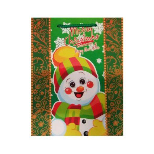 Ajándéktasak karácsonyi 18*23*8 zöld hóember