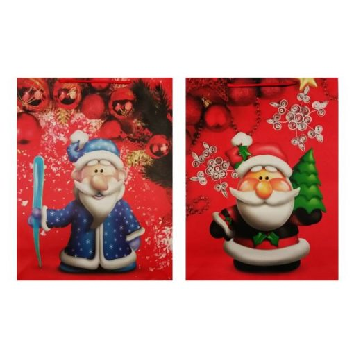 Piros-kék télapós karácsonyi ajándéktasak, nagy