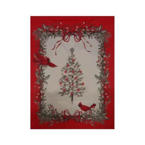 Ajándéktasak karácsonyi 31*41*12 fehér fa