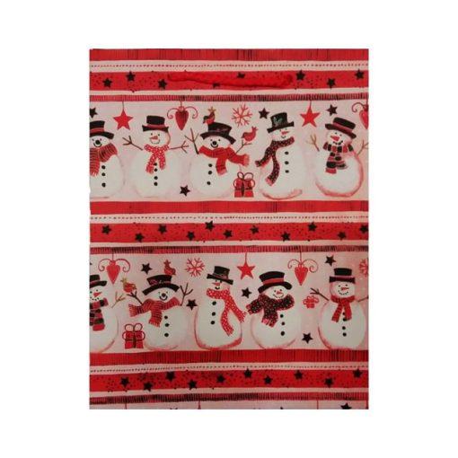 Ajándéktasak karácsonyi 18*23*8 sok hóember