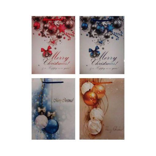 Ajándéktasak karácsonyi 25*32*10 gömbös