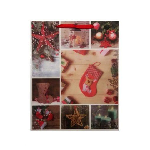 Ajándéktasak karácsonyi 26*32*10 sok képes