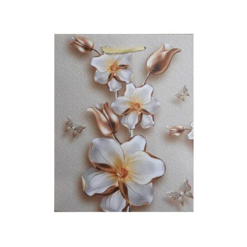 Ajándéktasak 23*18*10 cm bronz virágos