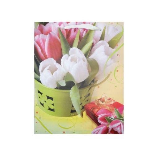 Nagy ajándéktasak, tulipános