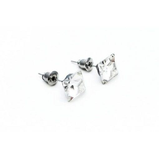 Fülbevaló kristály fehér négyzet