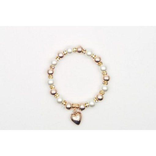 Szív medálos karkötő, fehér-rosegold színben