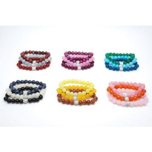 Karkötő háromsoros, színes gyöngyökkel