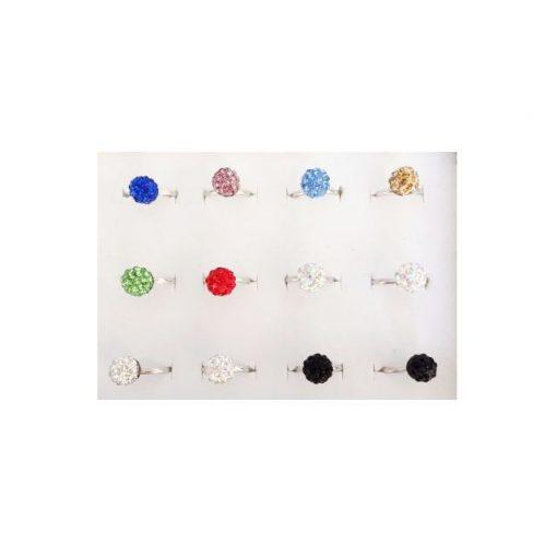Gömbös köves gyűrű, többféle színben