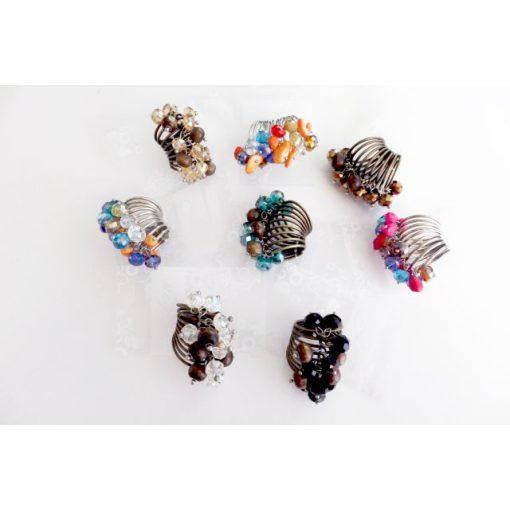 Többsoros, gyöngyös gyűrű, többféle színben