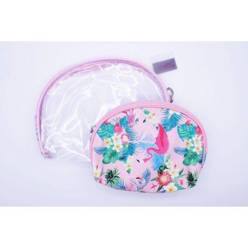 Flamingós/átlátszó kozmetikai táska (2 db)