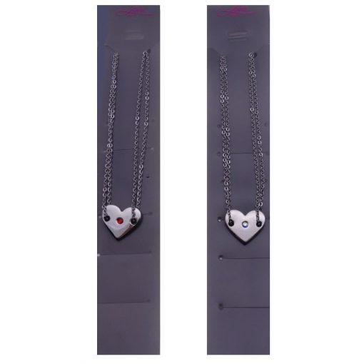 Szív medálos nyaklánc, színes Swarovski kristállyal