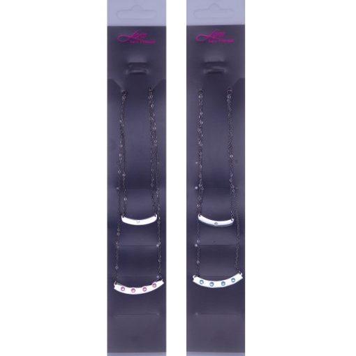 Hosszú medálos nyaklánc, színes Swarovski kristállyal