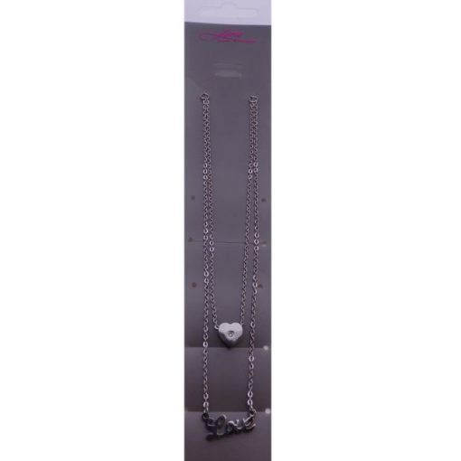 Szíves, felirat medálos nyaklánc Swarovski kristállyal