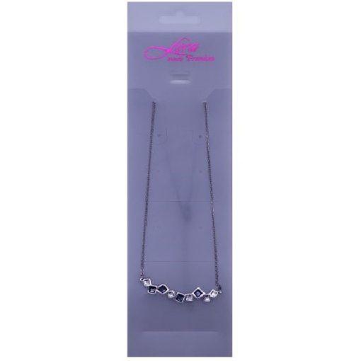 Kockaköves nyaklánc, színes Swarovski kristállyal