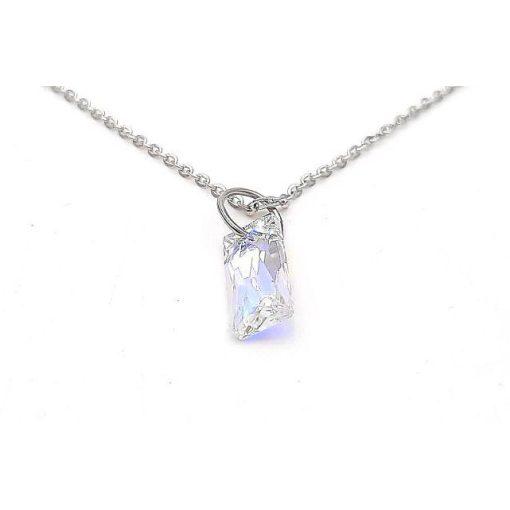 Szívárványkő medálos nyaklánc, színes Swarovski kristállyal